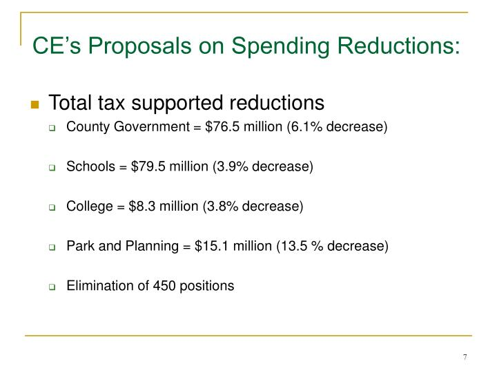 CE's Proposals on Spending Reductions: