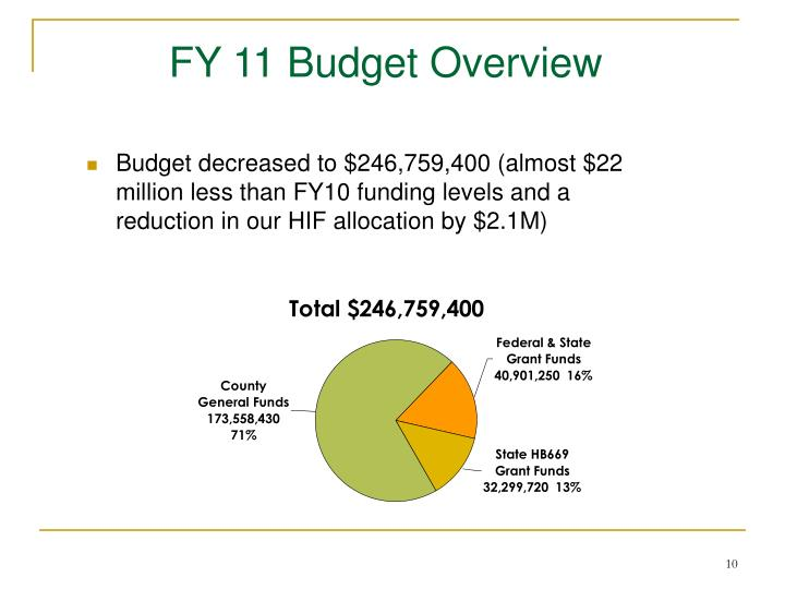 FY 11 Budget Overview