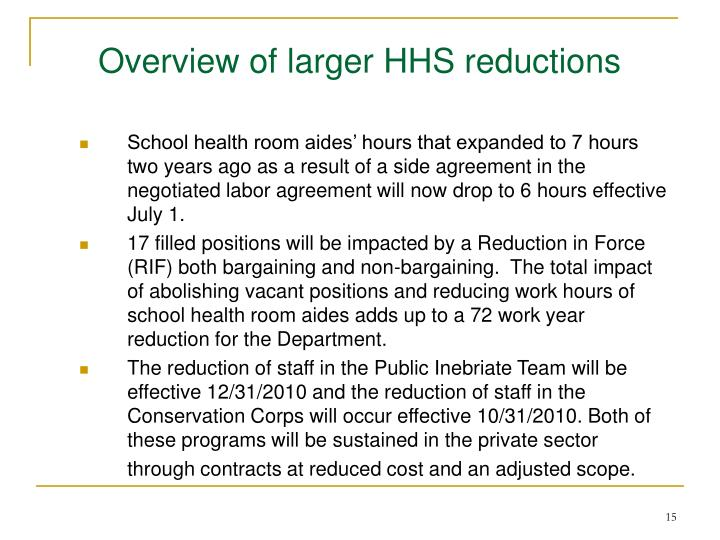 Overview of larger HHS reductions