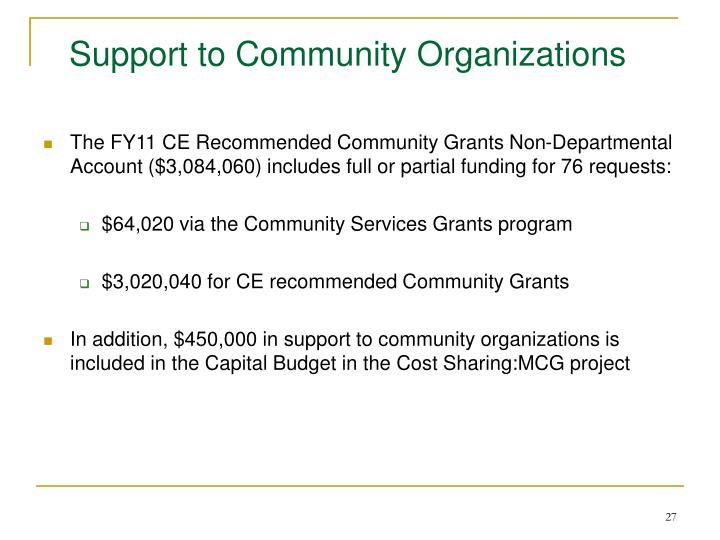 Support to Community Organizations