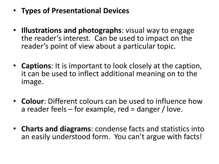 Types of Presentational Devices