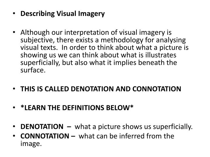 Describing Visual Imagery