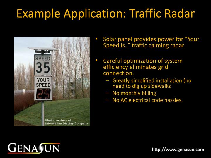 Example Application: Traffic Radar