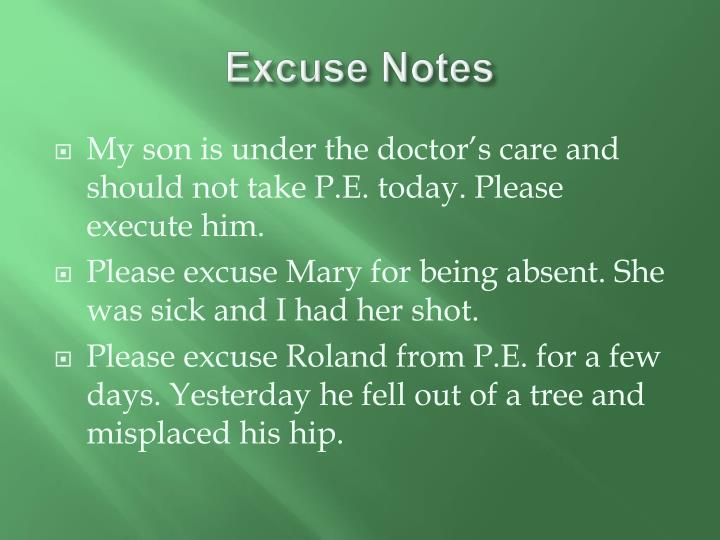 Excuse Notes