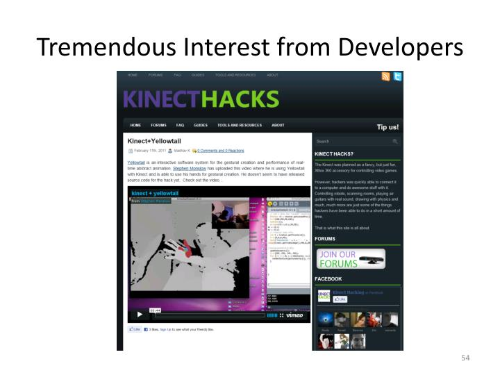 Tremendous Interest from Developers