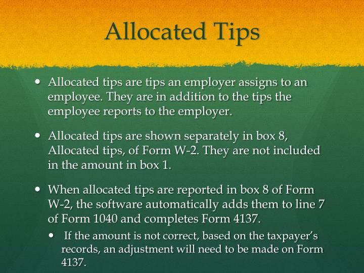 Allocated Tips