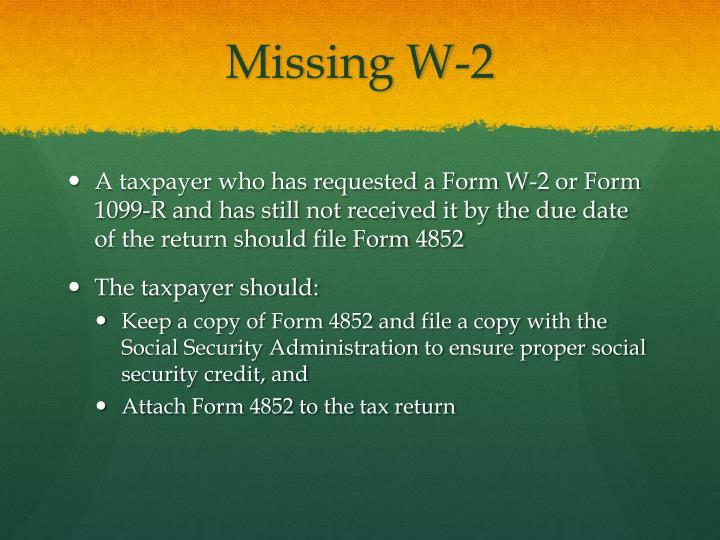 Missing W-2