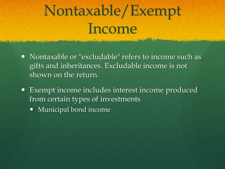 Nontaxable/Exempt Income