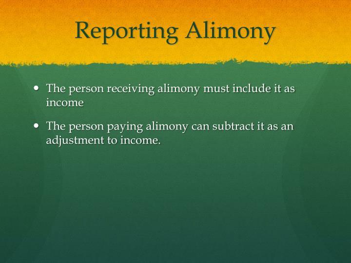 Reporting Alimony