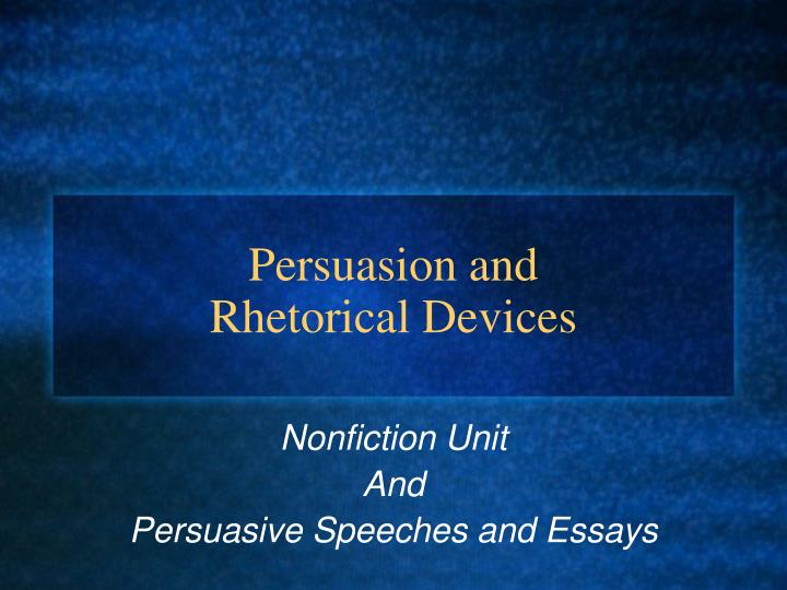 Rhetorical devices used in essays