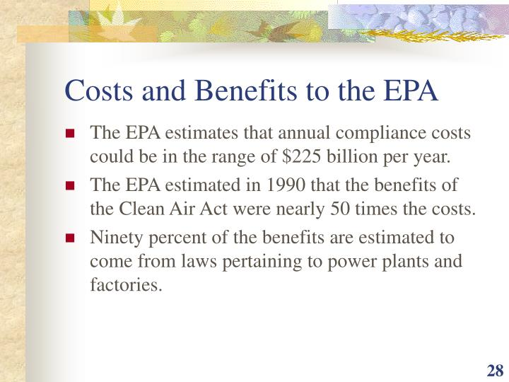 Costs and Benefits to the EPA