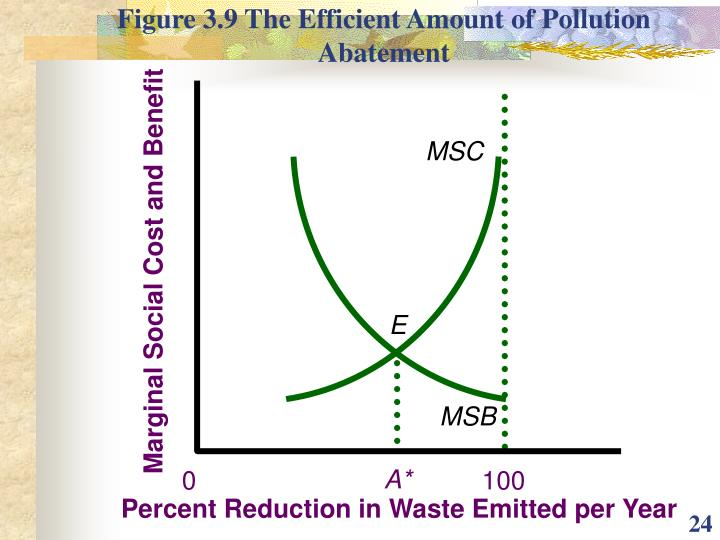 Figure 3.9 The Efficient Amount of Pollution Abatement
