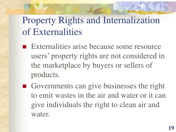 Property Rights and Internalization of Externalities