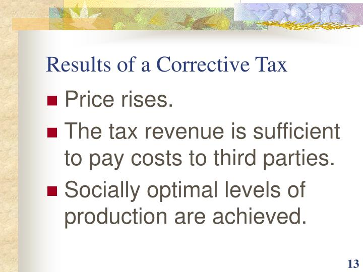 Results of a Corrective Tax