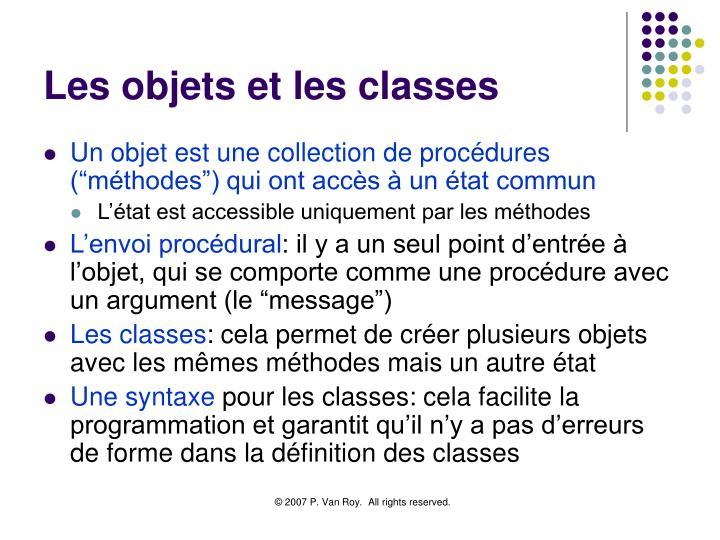 Les objets et les classes