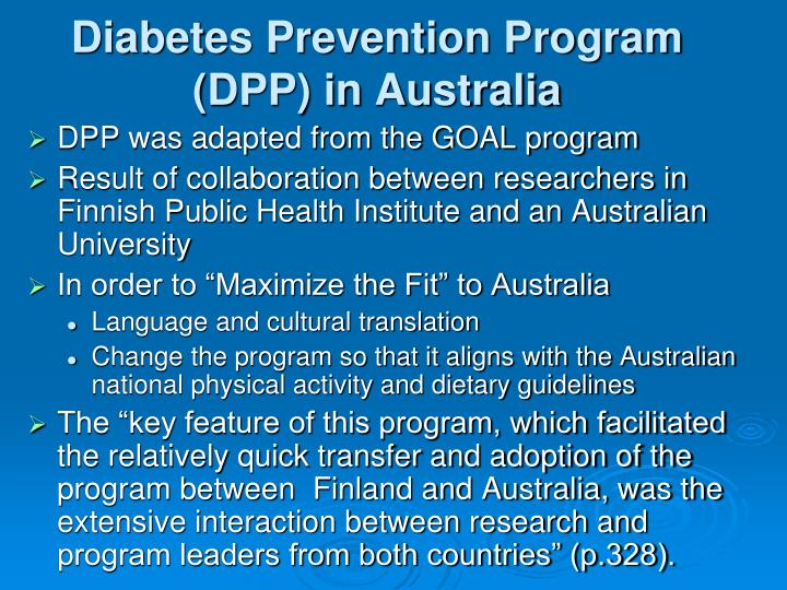 Diabetes Prevention Program (DPP) in Australia