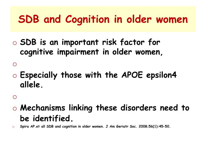 SDB and Cognition in older women