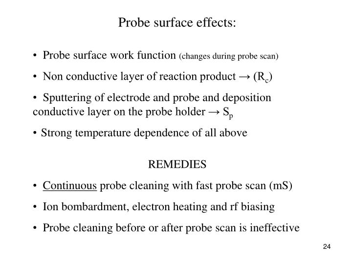 Probe surface effects: