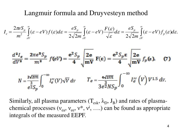 Langmuir formula and Druyvesteyn method
