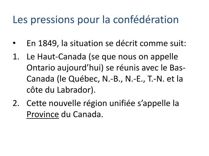 En 1849, la situation se décrit comme suit: