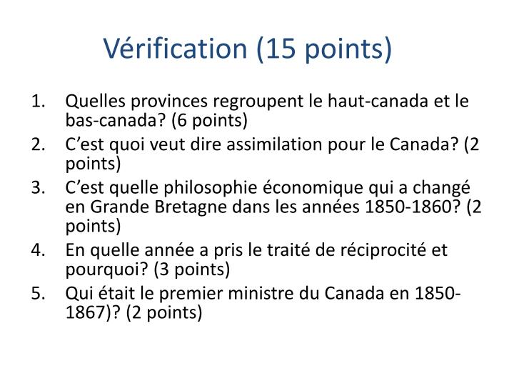 Vérification (15 points)