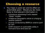 choosing a resource