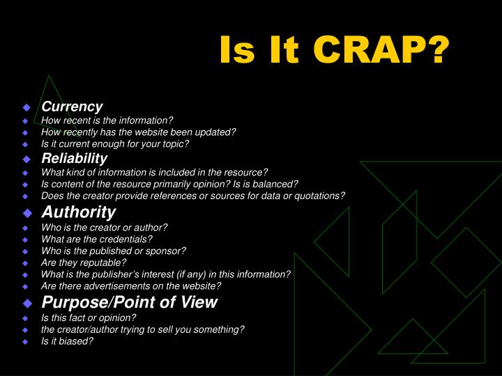 Is It CRAP?