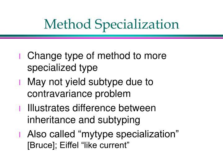 Method Specialization