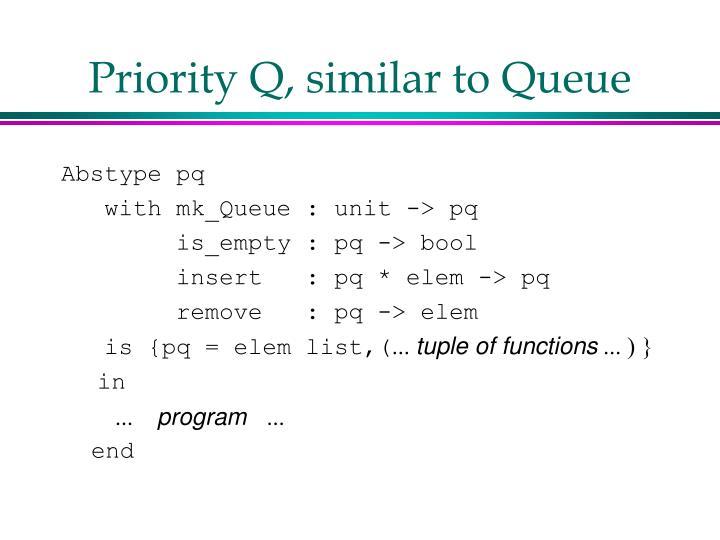 Priority Q, similar to Queue