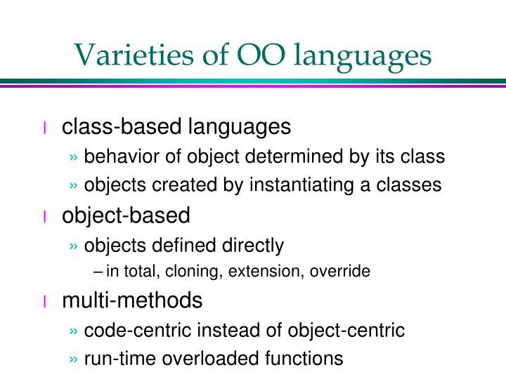 Varieties of OO languages