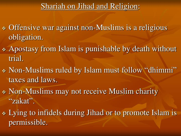 Shariah on Jihad and Religion