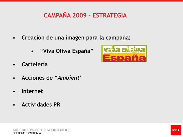 CAMPAÑA 2009 – ESTRATEGIA