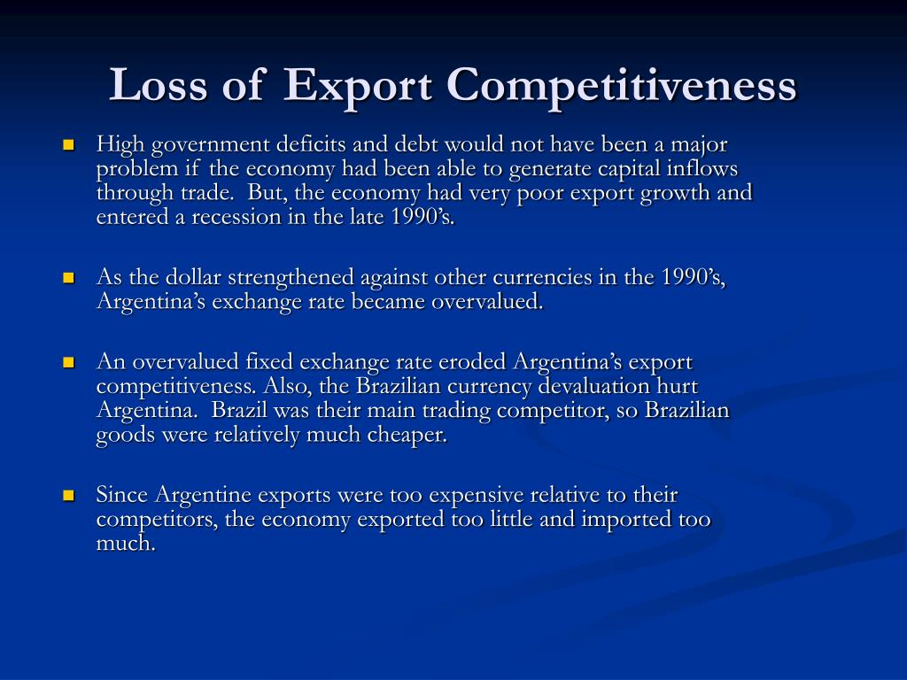 Loss of Export Competitiveness