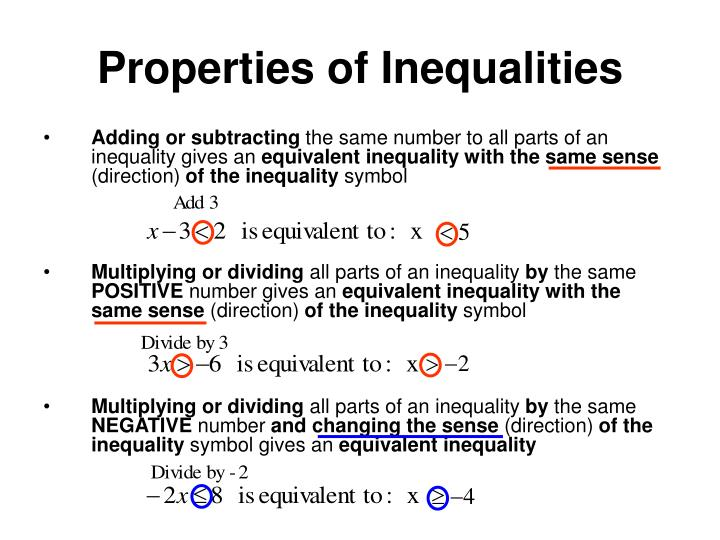 Properties of Inequalities