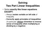 solving two part linear inequalities