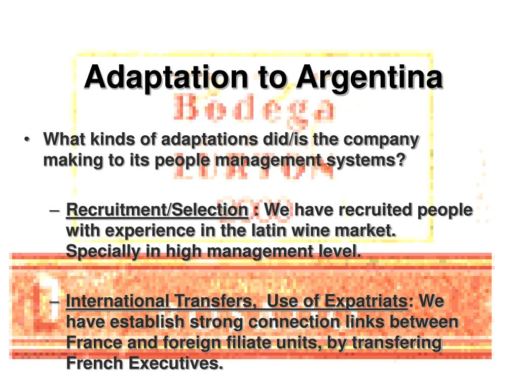 Adaptation to Argentina