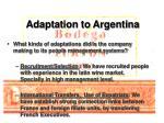 adaptation to argentina