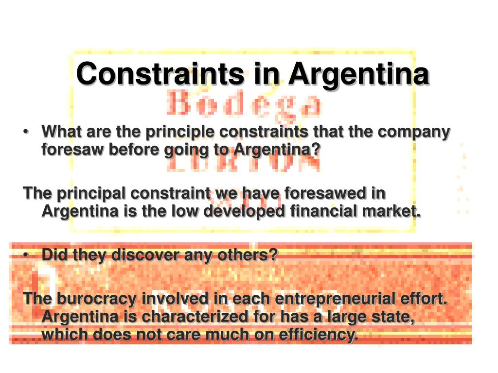 Constraints in Argentina