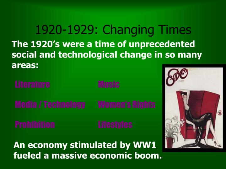 1920-1929: Changing Times