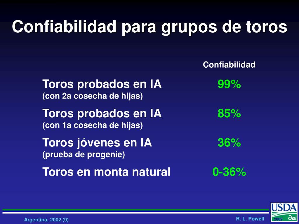 Confiabilidad para grupos de toros