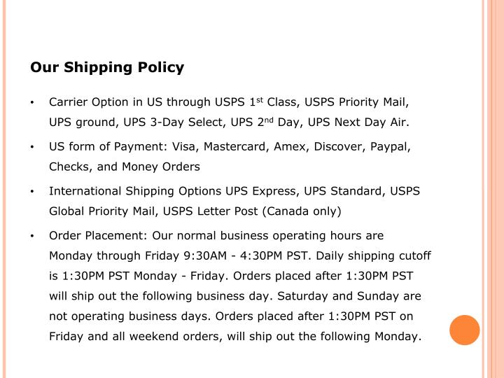 Our Shipping Policy