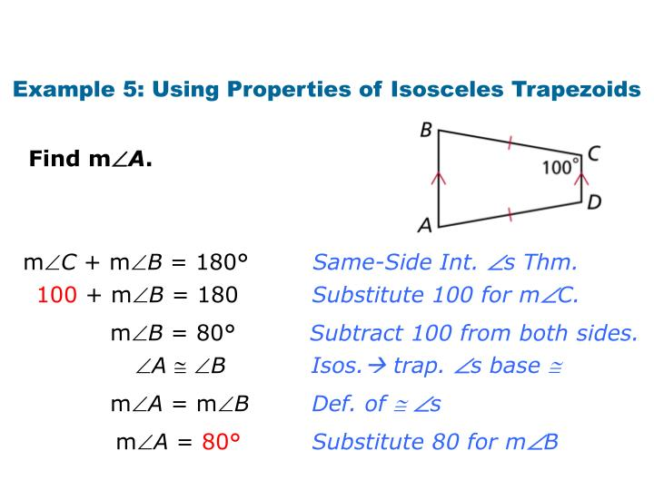 Example 5: Using Properties of Isosceles Trapezoids