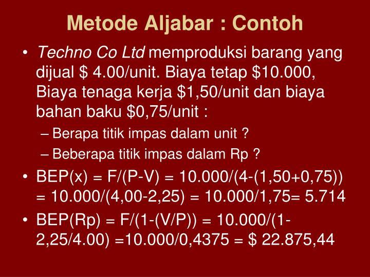 Metode Aljabar : Contoh