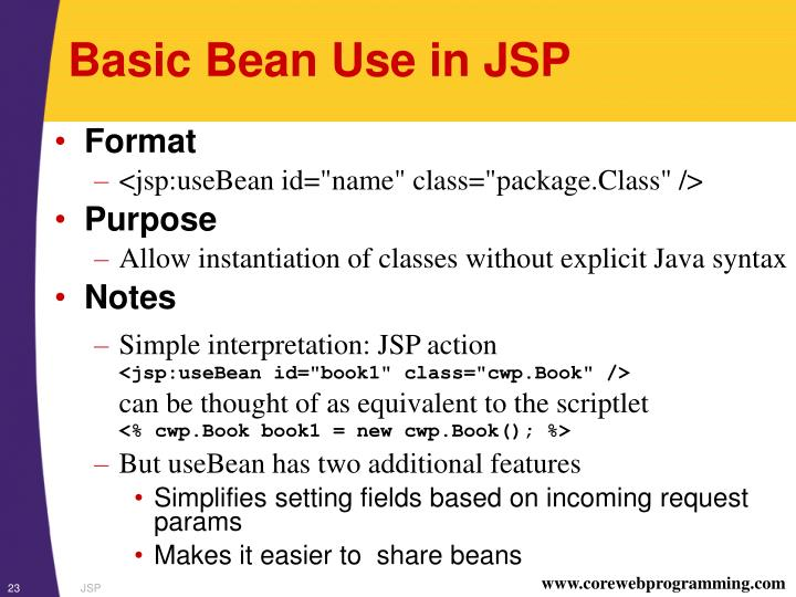 Basic Bean Use in JSP