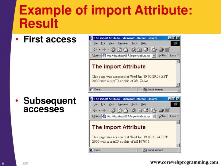 Example of import Attribute: Result