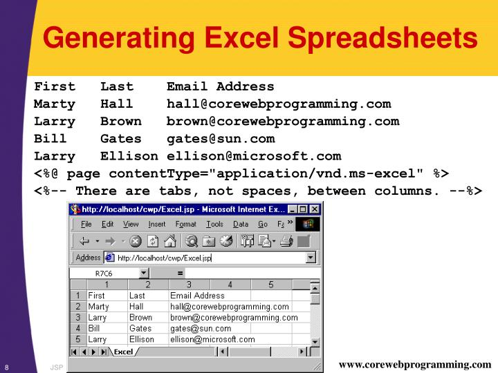 Generating Excel Spreadsheets