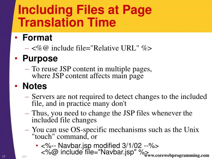 Including Files at Page Translation Time