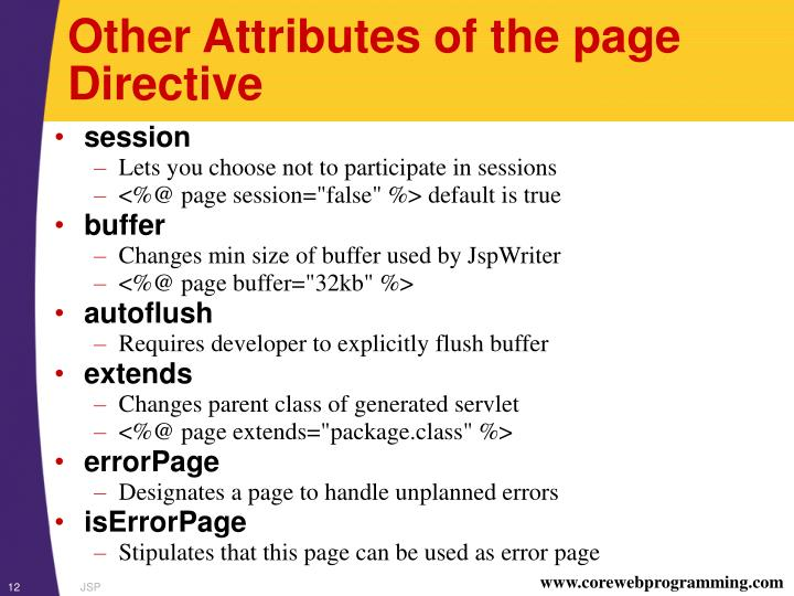 Other Attributes of the page Directive
