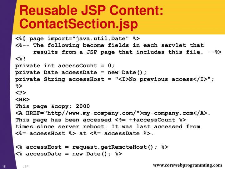 Reusable JSP Content: ContactSection.jsp