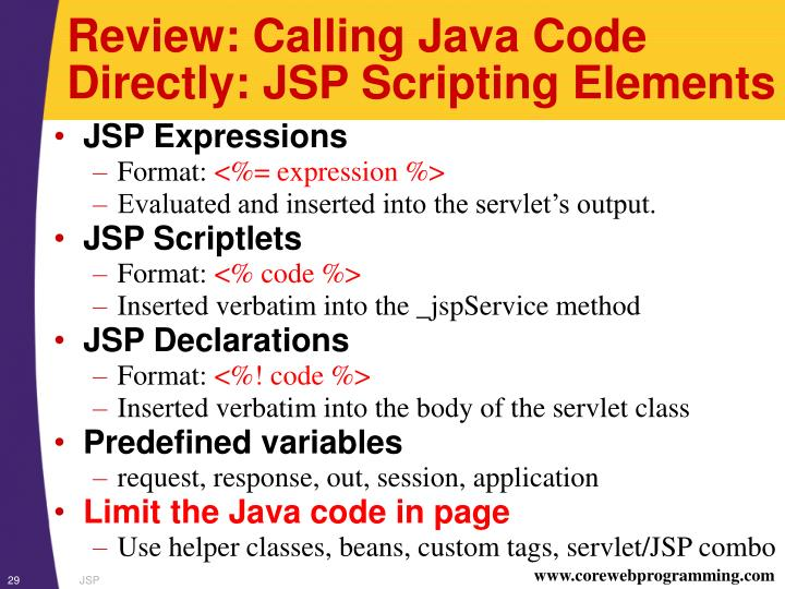 Review: Calling Java Code Directly: JSP Scripting Elements